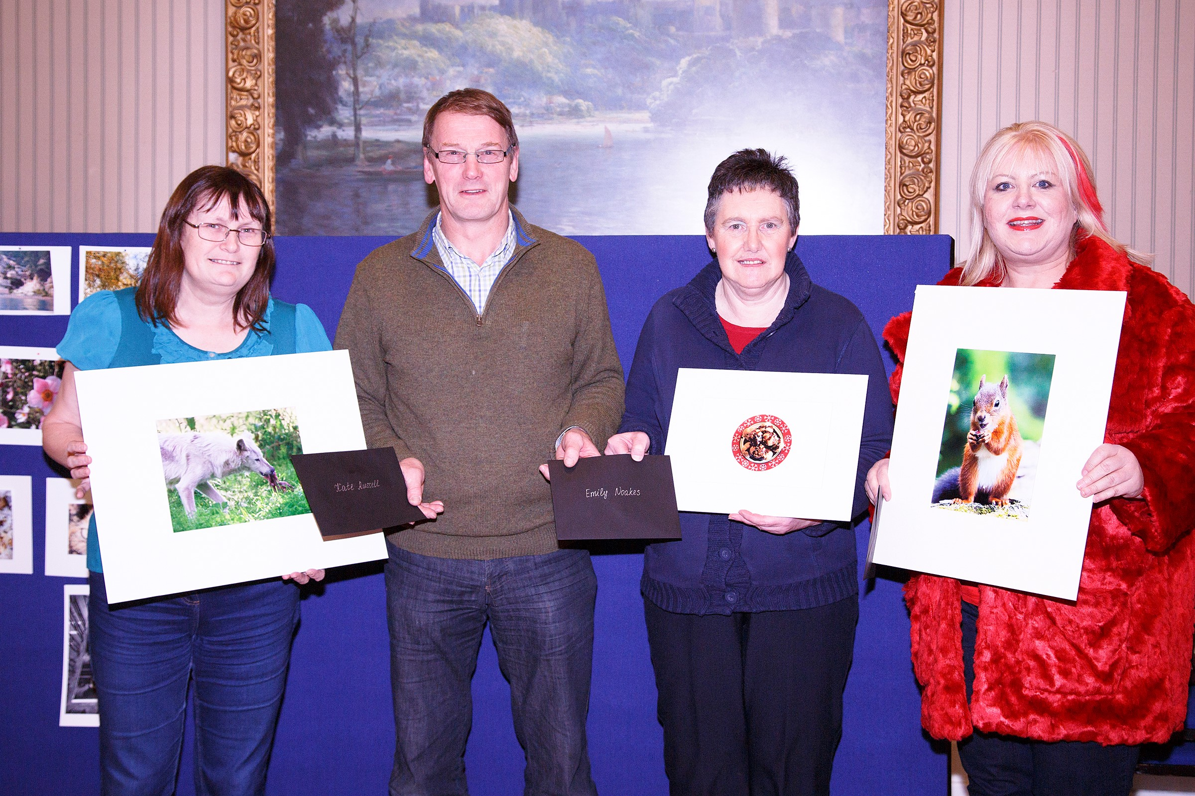 Food competition winners: Kate Russell, Chris Reekie (Society President), Emily Noakes, Vron Wootton. (Photo copyright-free and taken by Ron Russell.)