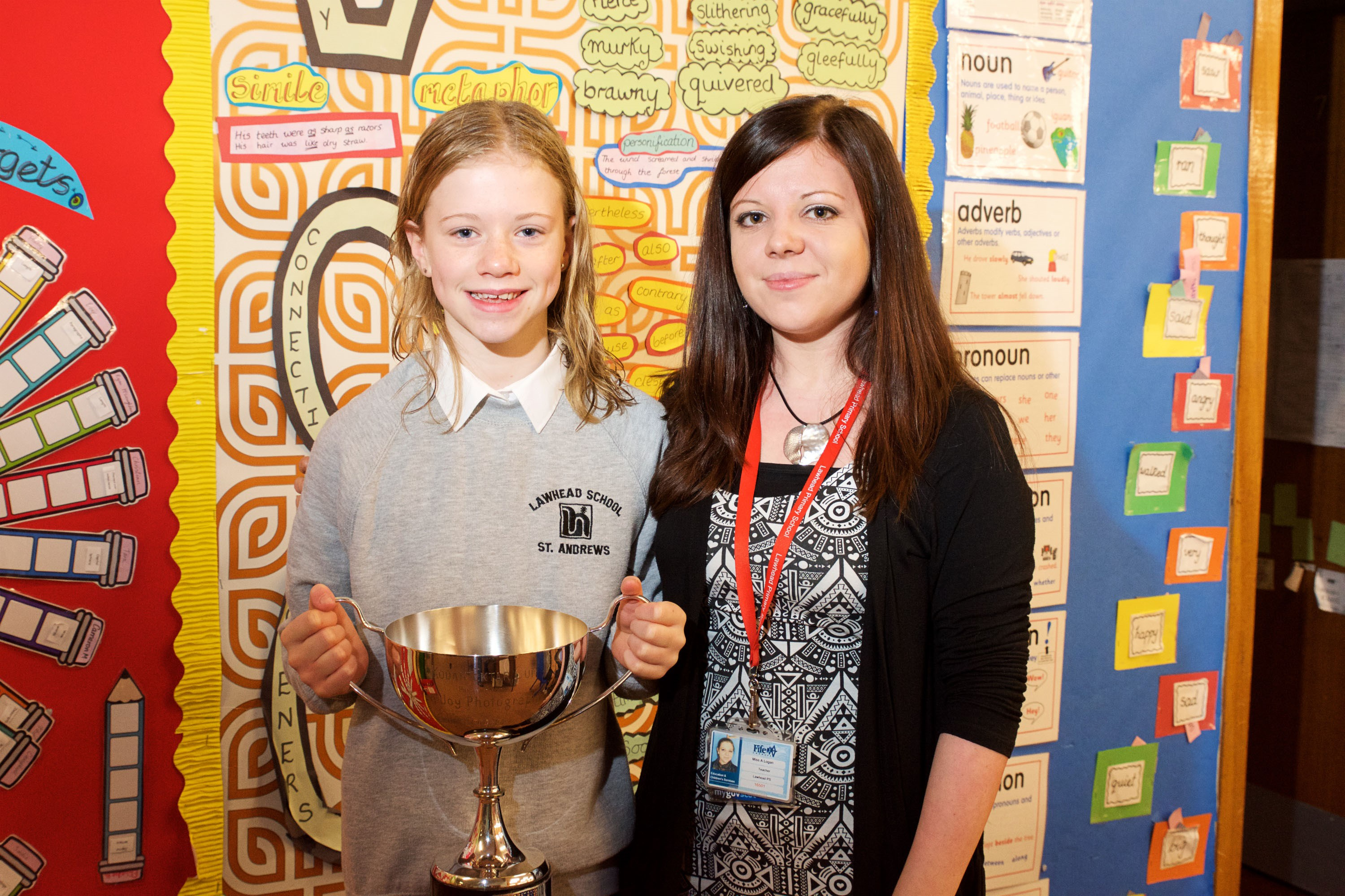Freya McLelland, P6, Lawhead Primary School, with her teacher Miss Logan. (Photo copyright-free and taken by Mathew Schwartz.)