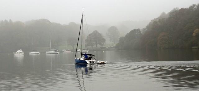 Sailing into  Windermere mist
